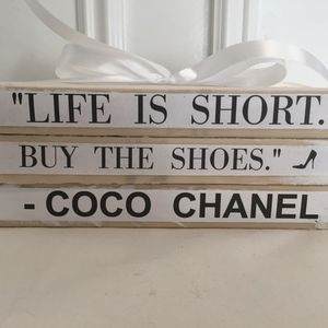 LIFE IS SHORT COCO CHANEL QUOTE BOOK SET